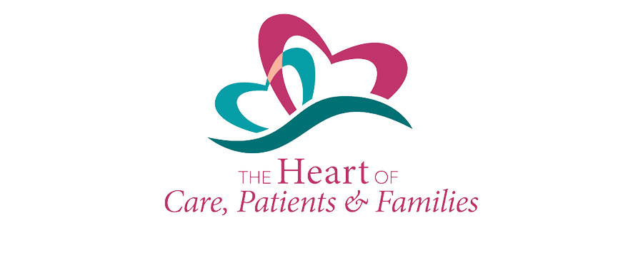 2 hearts with caption The Heart of Care, Patients & Families